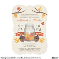 Would you like to get off this monogrammed fall leaves mason jar engagement party invitation card when you order 25 or more invitations? We have lots of other wonderful examples of and wedding invitations. Tree Wedding Invitations, Couples Shower Invitations, Engagement Party Invitations, Wedding Invitation Design, Invites, My Bridal Shower, Wedding Showers, Couple Shower, Invitation Paper