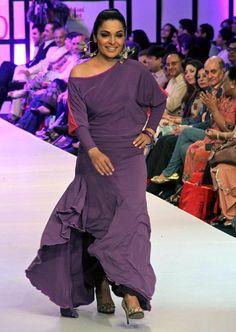 "KARACHI: Film star Meera  walk down the ramp during ""Pakistan fashion Week 2012""."
