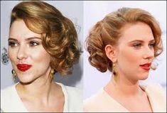 Scar Jo vintage curl updo (for short hair). @Adrianne Glowski Glowski Woodward Wedding hair???