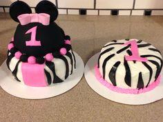 Minnie Mouse zebra first birthday cake and smash cake! Raspberry/vanilla zebra cake with lemon icing!