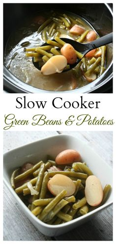 Slow Cooker Green Beans and Potatoes recipe. Vegetables that cook all afternoon until they are hot, tender and full of comforting flavor.