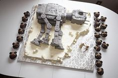 at-at walker cake with ewok cupcakes