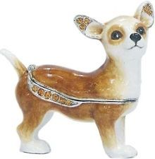 RUCINNI Chihuahua Jeweled Trinket/Pill/Jewelry Box with SWAROVSKI Crystals