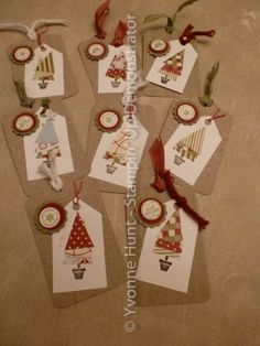 Tags for Christmas using the Pennant Parade stamp set and matching punch from Stampin' Up.