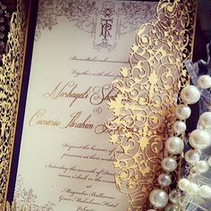 Gold laser cut invitation, super pretty yet edgy! from and thank you for tagging us❤️ Laser Cut Invitation, Laser Cut Wedding Invitations, Invitation Card Design, Elegant Invitations, Wedding Stationary, Wedding Invitation Cards, Wedding Cards, Our Wedding, Dream Wedding