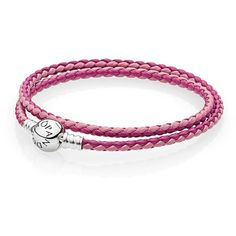 Pandora Bracelet - Leather & Sterling Silver Woven Mixed ($50) ❤ liked on Polyvore featuring jewelry, bracelets, pink, woven jewelry, sterling silver jewellery, pink bangles, braid jewelry and sterling silver bangles