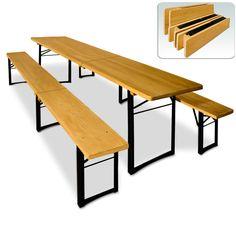 Folding trestle table bench set wood metal 220cm camping garden dining furniture   eBay