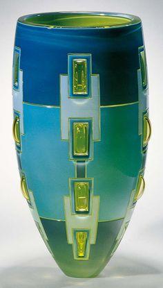 """Between the lines"", Cage blown glass 38 H x 20 W x 20 D cm by Rod COLEMAN, Banjup, Western Australia, Australia - 2005 Finalists - Ranamok"