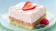 Looking for delicious dessert? Then check out these creamy strawberry cream squares made using Pillsbury® refrigerated sugar cookies.