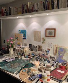 Room Ideas Bedroom, Bedroom Inspo, Bedroom Decor, Artist Aesthetic, Aesthetic Room Decor, Dream Rooms, Dream Bedroom, Art Studio Room, Deco Cool