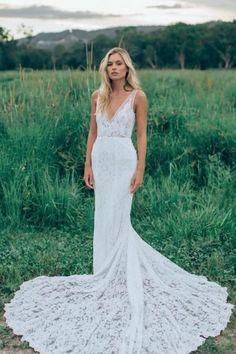 Charming V Neck Sheath Wedding Gowns,Sweep Train Appliques Wedding Dress OMW55 #weddinggowns