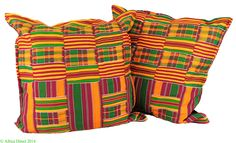 2 Kente Cloth Pillows Fuschia African 22 x 22 inch