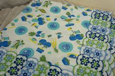 vintage tablecloth large scalloped floral trim kitchen by gleaned