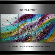 LARGE ABSTRACT ART, Turquoise Purple Painting Created on Three Panels by Artist Maitreyii