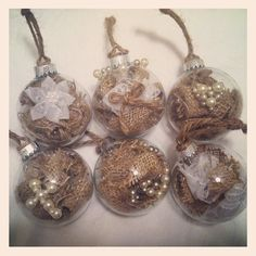 Six Rustic Christmas Ornaments With Pearl Embellishments. $17.00, via Etsy.