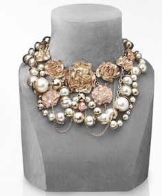 Stunning Dior twisted multi-row necklaces with pearl beads and metal roses! - MODwedding