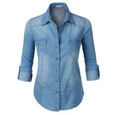 LE3NO Womens Long Sleeve Button Down Denim Shirt with Pockets ($16) ❤ liked on Polyvore featuring tops, denim top, long sleeve denim shirt, button up shirts, long-sleeve shirt and button down shirts