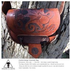 Custom artwork handmade leather hip bag   by MagpieCartel on Etsy