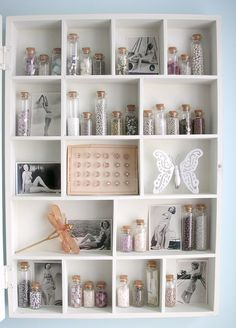 this in my printers drawer both momentos and glass and sand. Craft Room Storage, Room Organization, Craft Rooms, Jar Storage, Sand Collection, Printers Drawer, Shadow Box Art, Shabby Chic, Displaying Collections