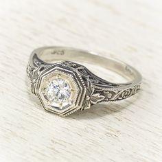 Filigree Antique Vintage Engagement Diamond Ring $1,575.00