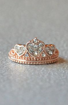 Rose Gold Crown Amore Heart Ring