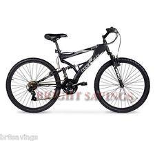 "Men's Mountain Bike Black Aluminum Frame Bicycle Shimano 26"" Full Suspension NEW"