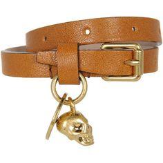 Alexander McQueen 2x Wrap Bracelet Tan ($195) ❤ liked on Polyvore featuring jewelry, bracelets, belts, accessories, alexander mcqueen, tan, charm bangle, leather charm, skull bangle and leather bangle
