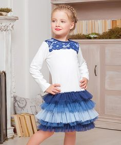 Loving this Blue & White Lace Tiered Dress - Toddler & Girls on #zulily! #zulilyfinds