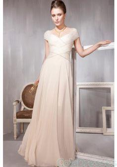 Light Pleated Simple Modest Satin Dress,