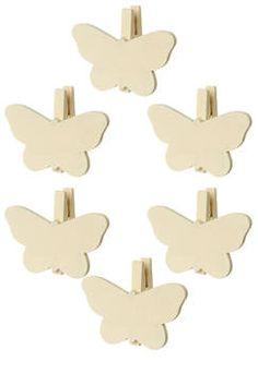 6 mini pinces papillons ivoire