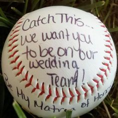 This is how we asked our bridal party for our Yankee themed wedding