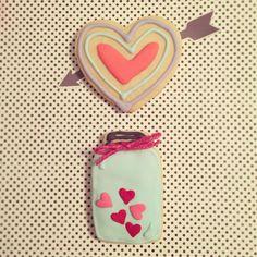 Mason jar & heart cookies