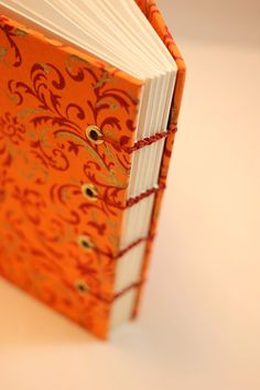 Orange, red, and gold florid hard cover blank book, journal, notebook, or diary, coptic bound, 100% recycled text paper, handmade - no. 1048