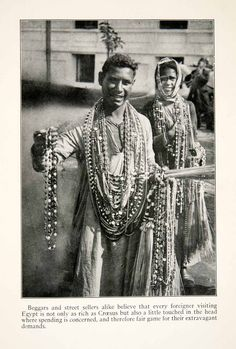 """This is an original 1923 black and white halftone print of """"The Bead Sellers of Cairo,"""" in Egypt."""