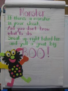 monster poem - follow with a list of verbs and adjectives for monsters