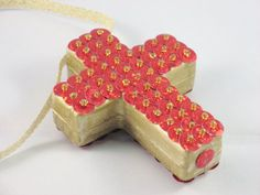Sequined Ornament Cross by juBEADlation on Etsy, $20.00