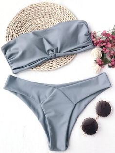 SHARE & Get it FREE | Knot Padded Bandeau Bikini Set - Gray MFor Fashion Lovers only:80,000+ Items • New Arrivals Daily Join Zaful: Get YOUR $50 NOW!