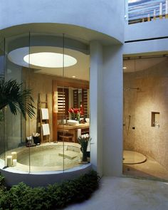 This bathroom opens to the outside, so privacy would be key, but it's amazing. Cozy-Luxury: Mediterranean Bathroom Design Idea Pictures