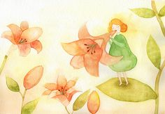 꽃 일러스트, 소녀 일러스트, 백합, 피리, pipe,  lily, flower illustration http://instagram.com/jisuillust