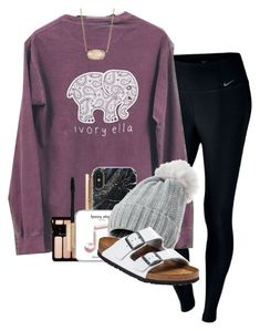 """""""Last day"""" by sophiavarrrr ❤ liked on Polyvore featuring NIKE, Forever 21, Birkenstock and Kendra Scott"""