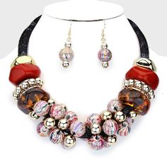 Elaborate Black Vinyl Rope Mesh Cluster Red Gold Brown Beads Necklace Set #FashionJewelry