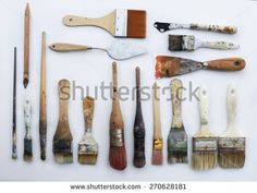 Used color brushes - stock photo