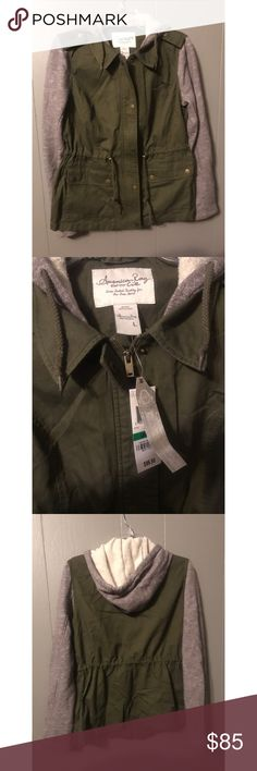 American Rag Utility Jacket with Knit Trim New with tags, American Rag Utility Jacket with Knit Trim, gray hoodie material and green utility jacket material. Draw string waist, Full Zip, with buttons. Bought and never returned, my loss, is your gain! Super comfy just too big on me. American Rag Jackets & Coats Utility Jackets