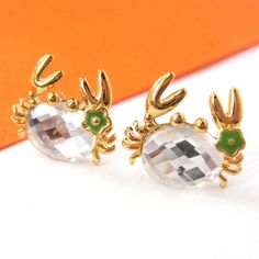 $6 Small Crab Sea Animal Stud Earrings in Gold with Rhinestone and Flower