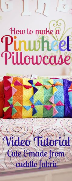 Cuddle Pinwheel Pillowcase Tutorial & Giveaway!  tutorial by @fleecefun - with #CuddleCharms in Very Vibrant Dimple http://www.shannonfabrics.com/cuddle-charms-very-vibrant-dimple-p-6598.html and Cuddle Dimple® Azure http://www.shannonfabrics.com/cuddle-dimple%C3%82%C2%AE-azure-p-4345.html for the back. Tutorial on My Cuddle Corner, our blog http://shannonfabrics.com/blog/2015/02/04/cuddle-pinwheel-pillowcase-tutorial-giveaway/  And...there's also a giveaway!