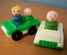 Two Vintage Fisher Price Little People vehicles and 3 wooden figures – green and white cars, male, female, boy by RetrowareExchange on Etsy