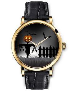 SPRAWL Classic Analog Round Face Genuine Black Leather Gold Watches Present for Women Fun Design — Smile Pumpkin Clown Watchby SPRAWL  Price: $65.00