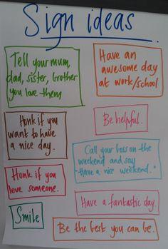 Sign ideas for RAK week