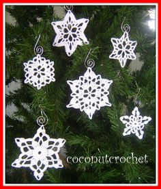 Set of 6 Snowflakes by coconutcrochet on Etsy
