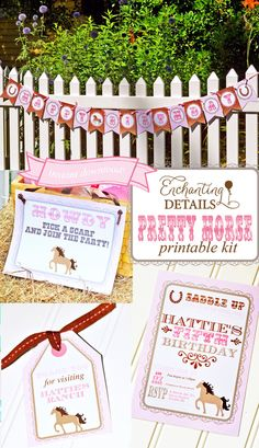INSTANT DOWNLOAD Pony Pretty Horse Printable Birthday Party Kit & Invitation- DIY/Customize Editable in Adobe Reader